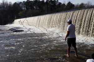 Milburnie Dam fisherman
