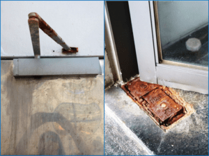 image: rusted door closer