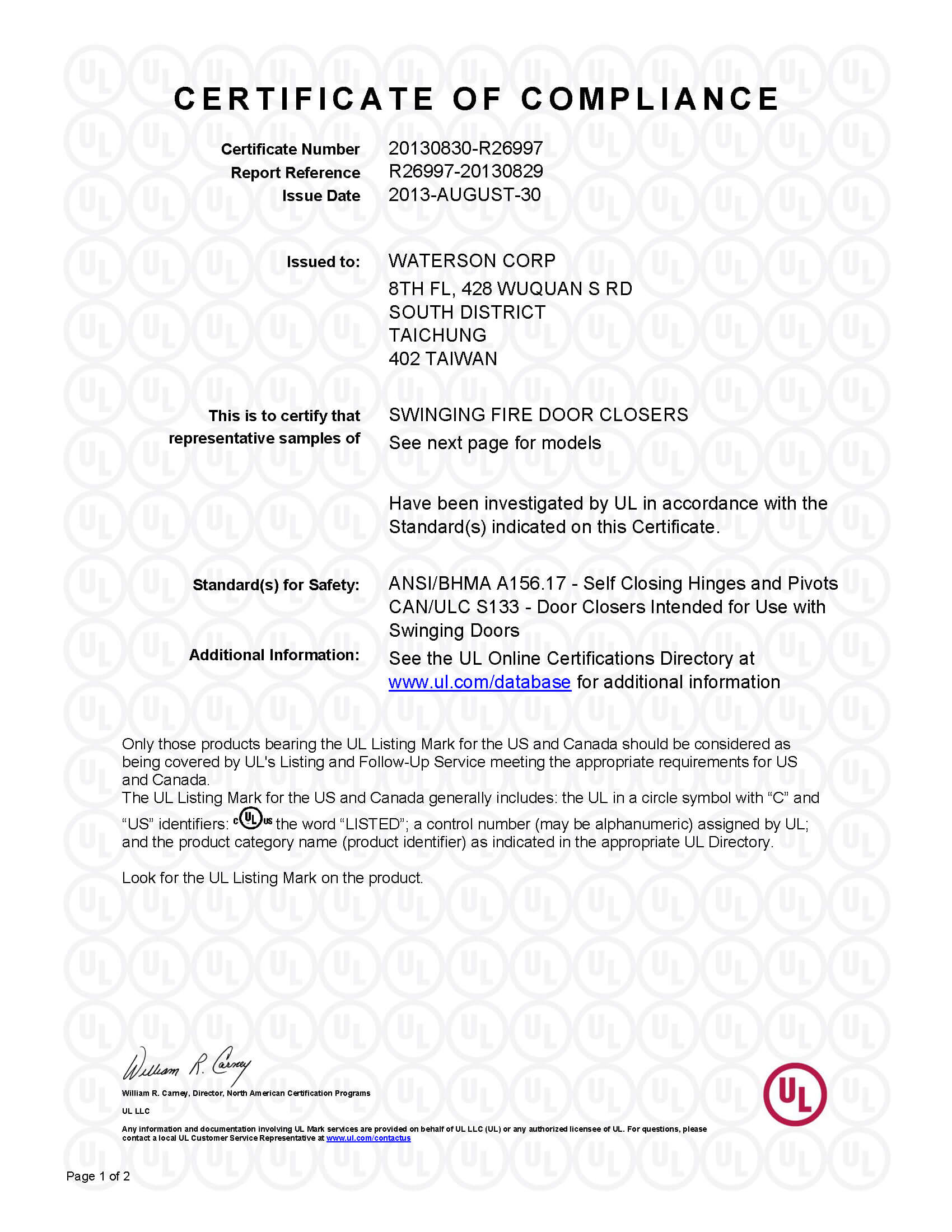 Waterson-UL-CertificateofCompliance1