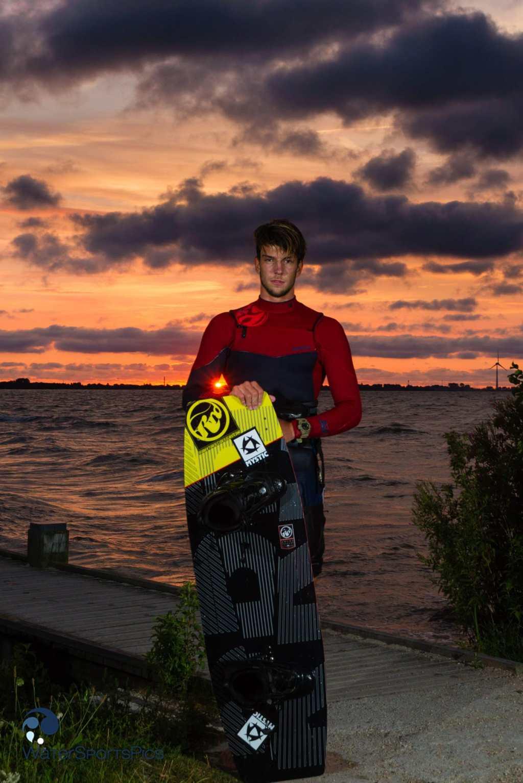 Evening shoot with Mystic/RRD rider Jerrie van de Kop at Vooroever, Andijk, The Netherlands on 29 July  2014.