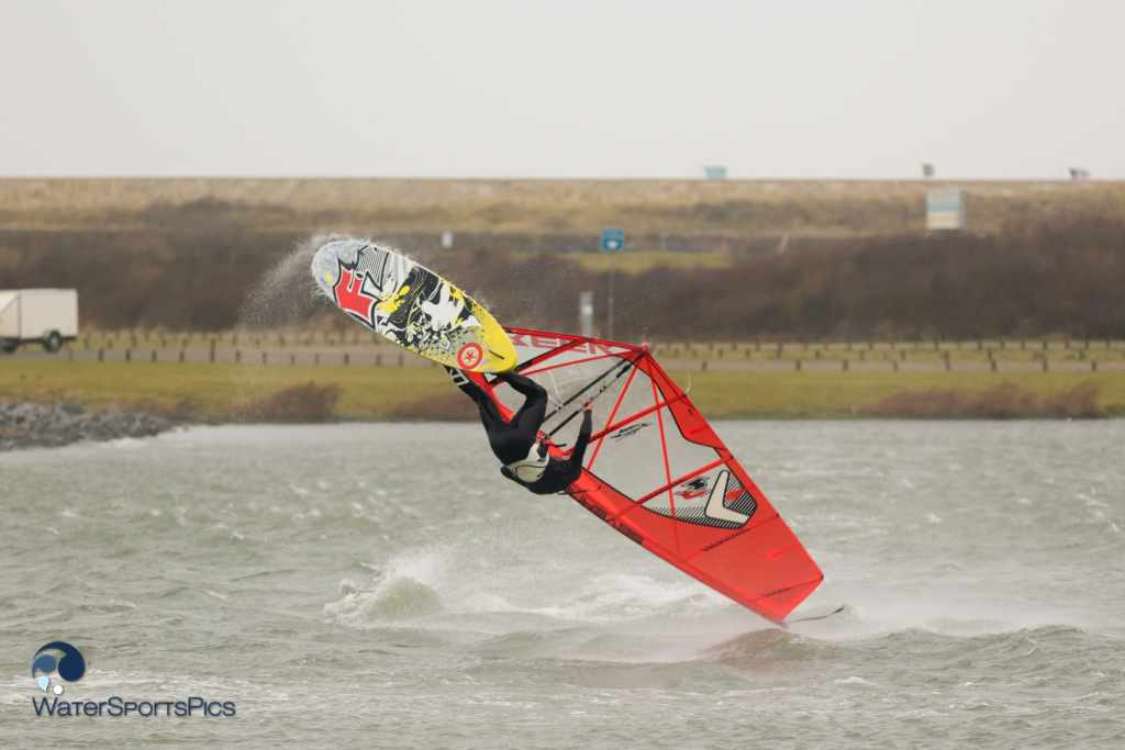 Rick Jendrusch during a Storm session at Zeil- en Surfcentrum Brouwersdam in Ouddorp The Netherlands op 10 January 2015,