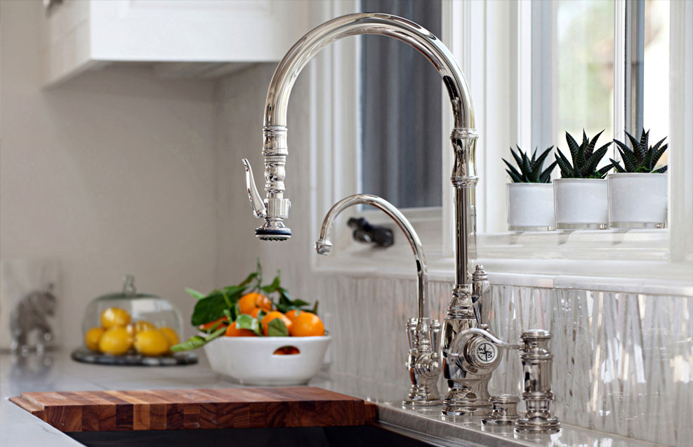 luxury kitchen faucets sink cabinet waterstone adds a traditional style pulldown faucet