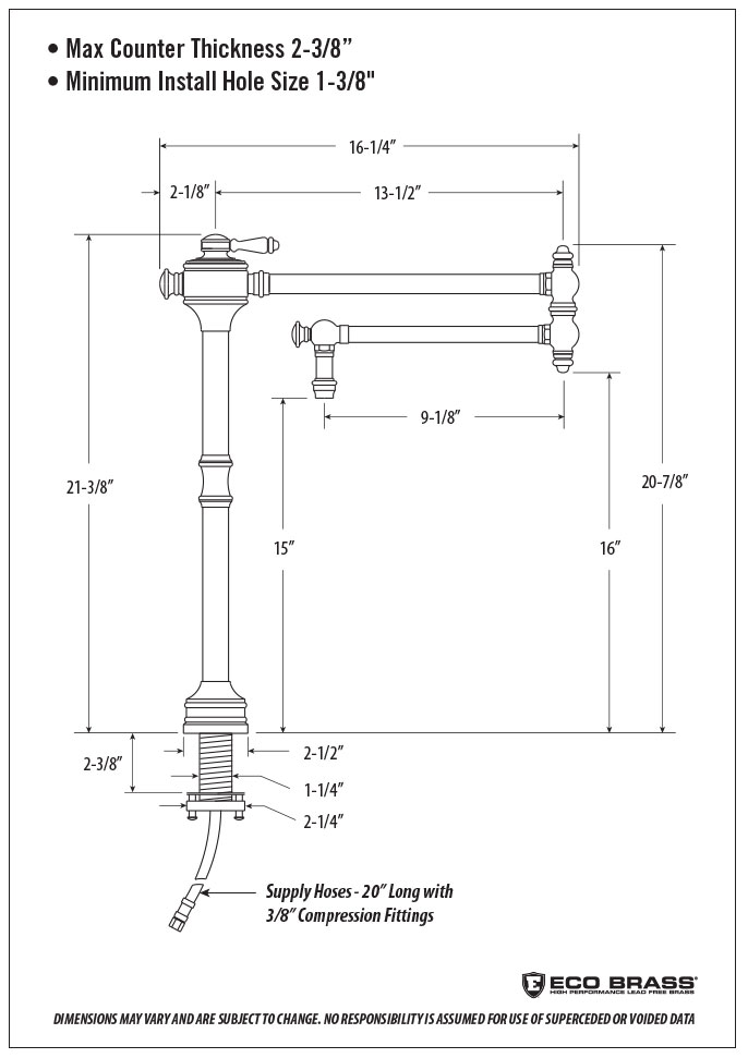 traditional counter mounted potfiller