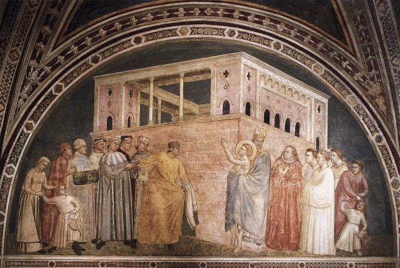 This is a photo of the famous painting Renunciation of Worldly Goods by Giotto di Bondone.