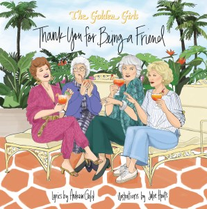 This image is a cartoon caricature of the four women characters of the fictional TV show Golden Girls. The women are all white and sitting on patio furniture, laughing and holding cocktail drinks in their hands. Palm trees are swaying in the background of a blue sky.