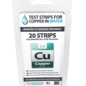 Strips for testing copper levels in drinking water.
