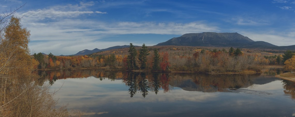 Maine landscape of lake, mountain, and sky