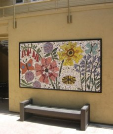 The images in Christie Beniston's mosaic mural are based on photos from California Gardener's Guide vII