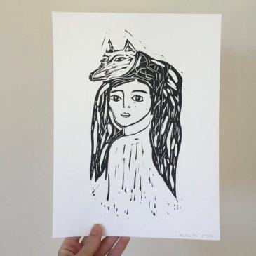 'Wolf Head' lino cut print