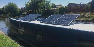 narrowboat with solar panels