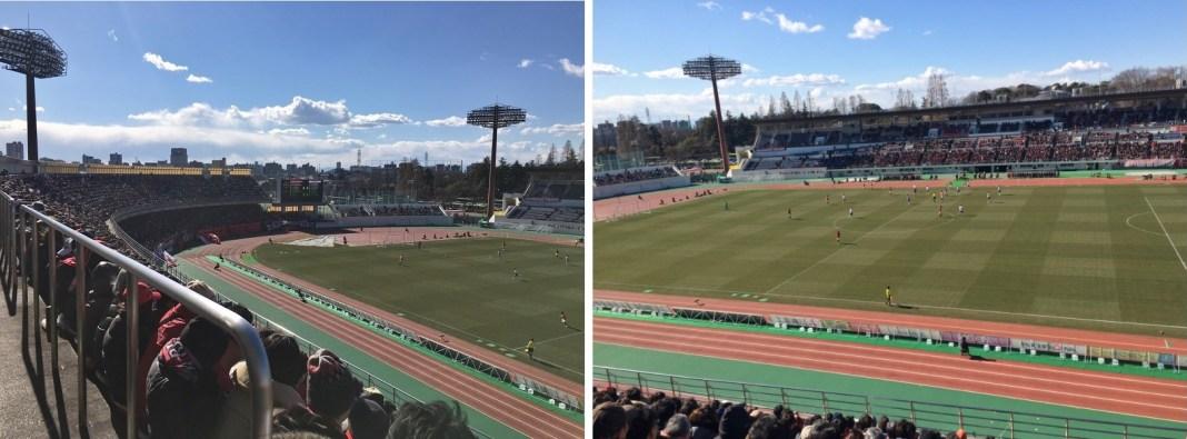 這次坐在中間2樓的位子,可以遠眺整個球場(左),聚集超過一萬名以上的球迷到場觀賽(右)