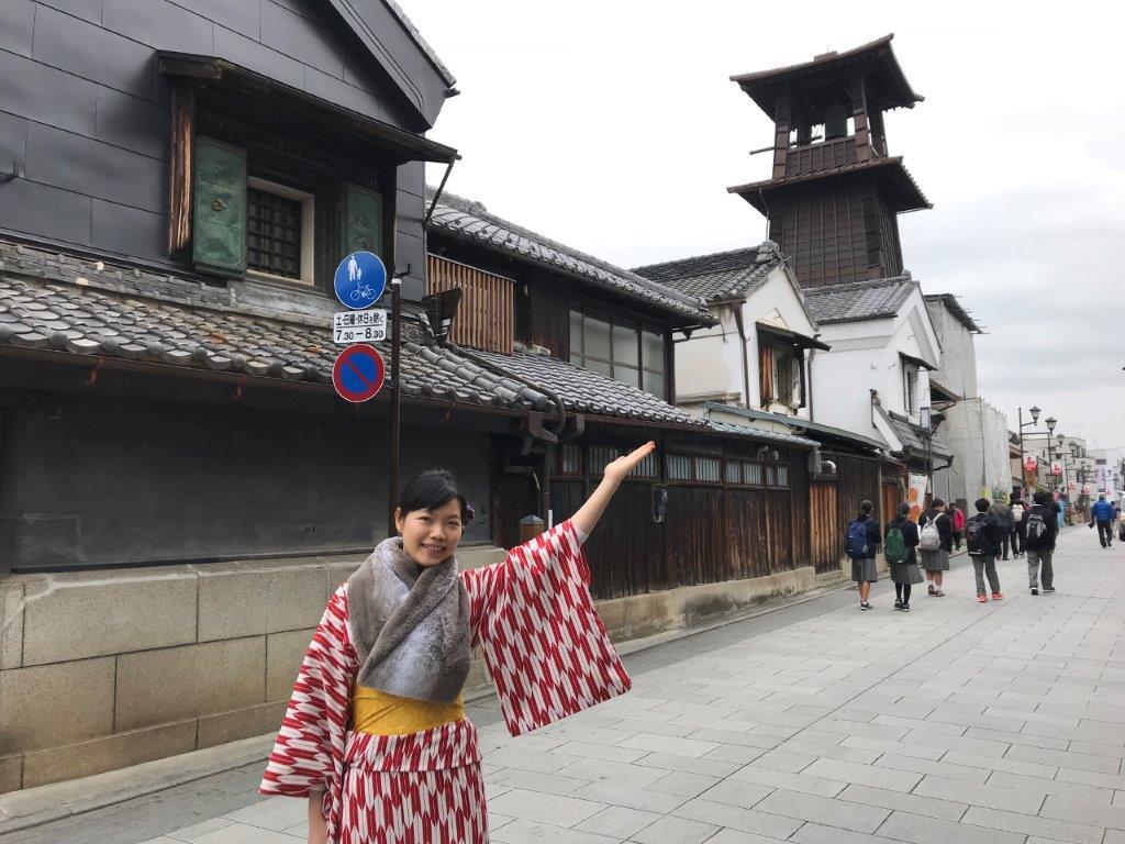 16 clock tower with kimono