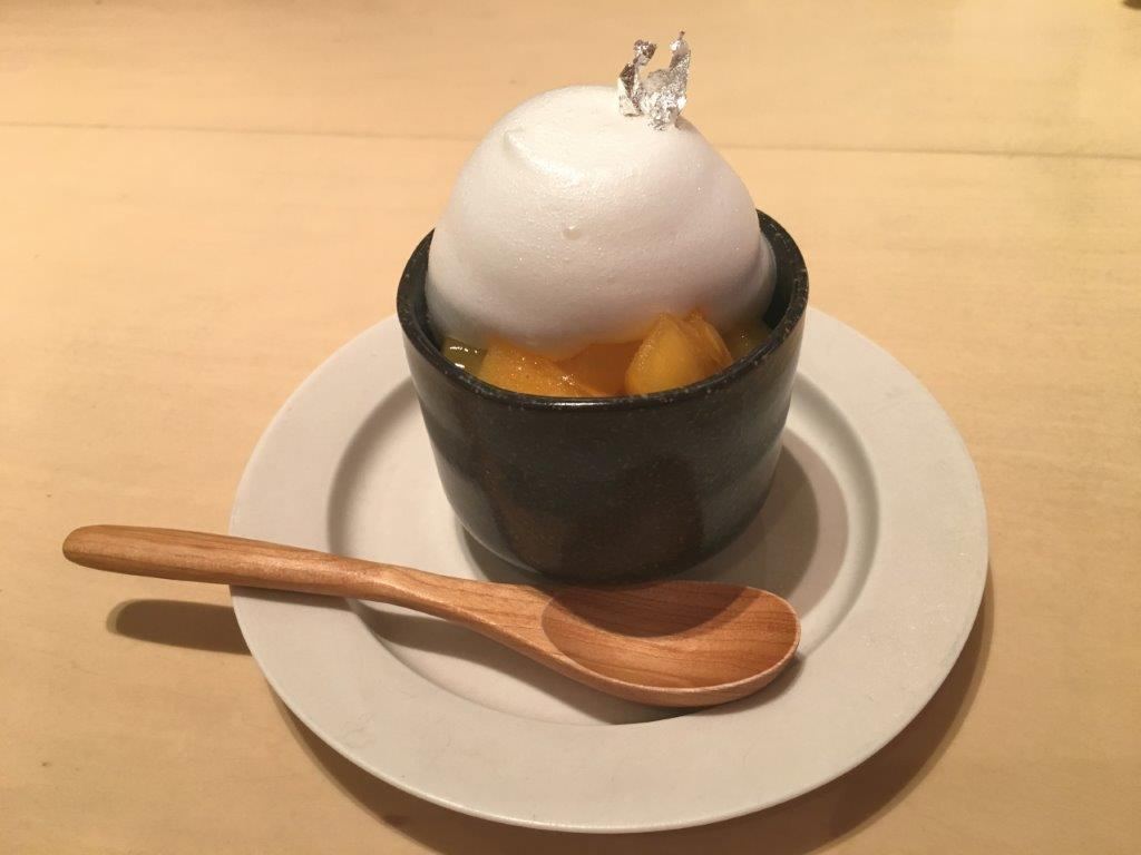 """The café also has a savarin cake made from Kawagoe's famous sake label """"Kagamiyama"""". The cake blends sake mousse with crushed Japanese kaki. It is a delicate cake for grownups."""