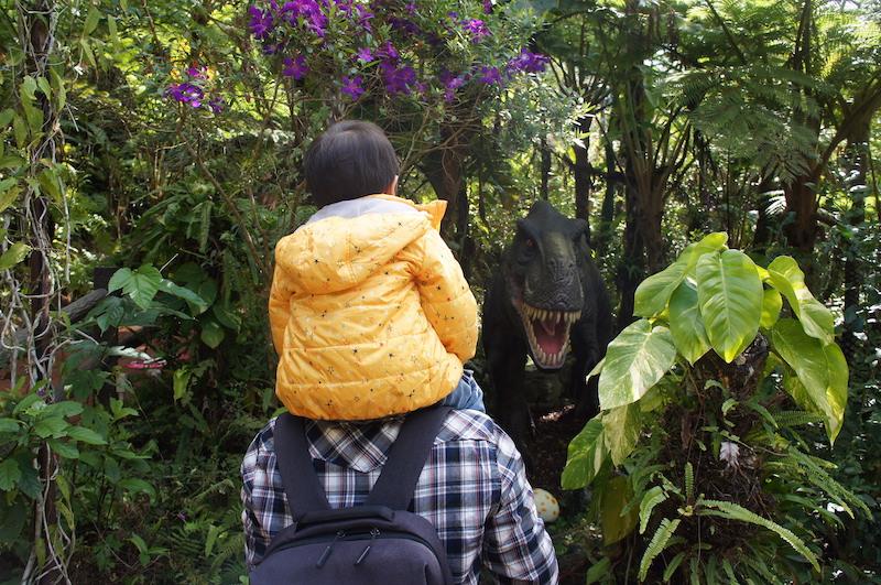 藏在樹叢中的恐龍模型