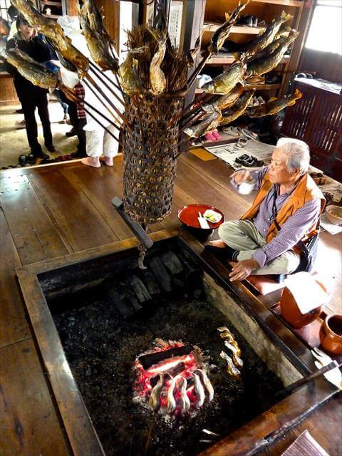 The interior of a local restaurant in Ouchi-juku