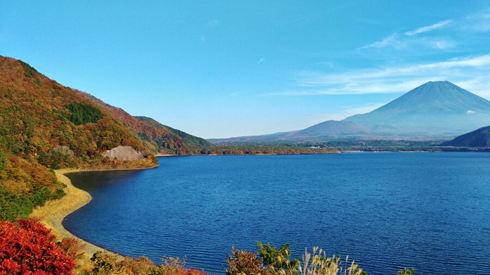 View of Mt Fuji from Lake Motosuko