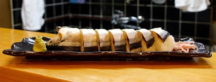 Sanma sushi a traditional Kumano dish served at Jofuku-sushi.