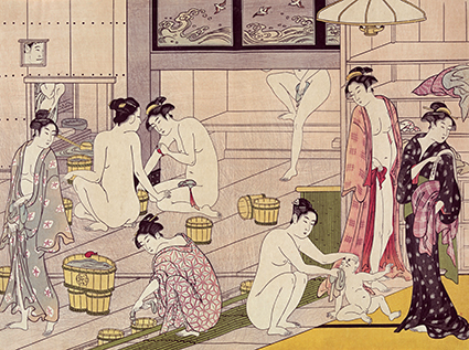"Torii Kiyonaga ""Interior of a Bathhouse"" 1787"