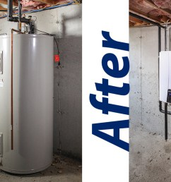 before and after of traditional to navien tankless water heater [ 1430 x 830 Pixel ]