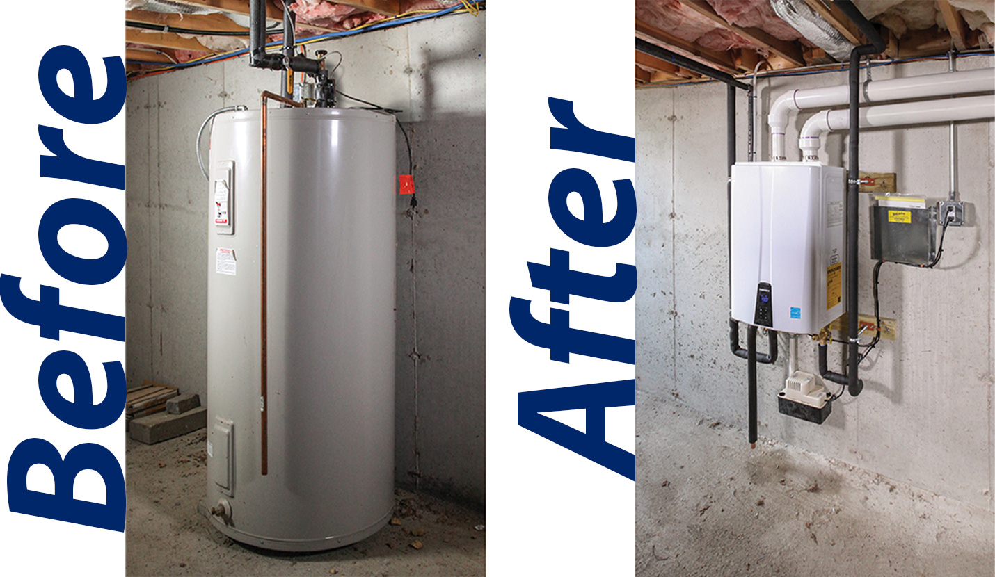 hight resolution of before and after of traditional to navien tankless water heater