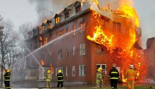 Abandoned Building on Fire in Quebec, Canada.