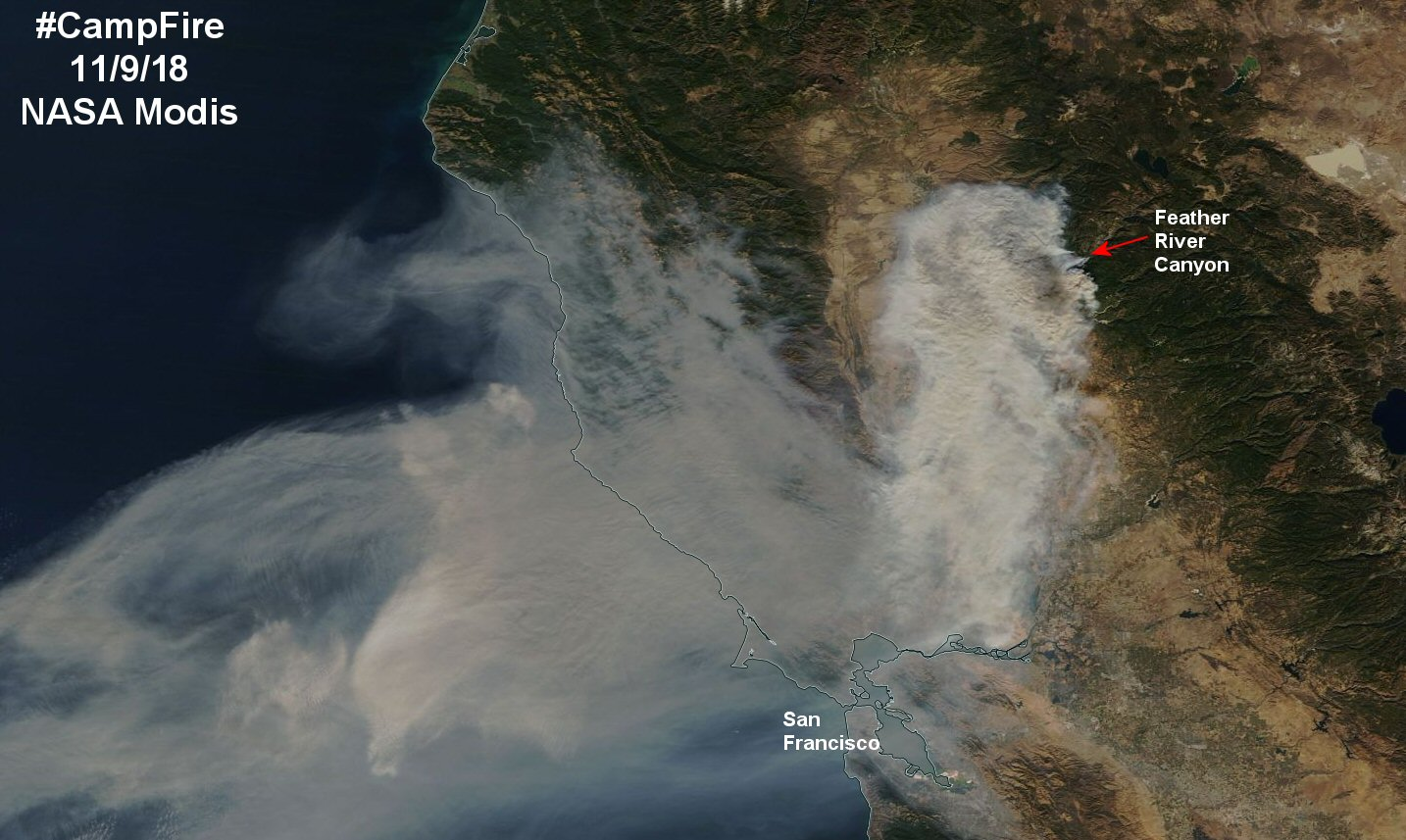 CampFire Smoke as seen by MODIS satellite   Watts Up With That? on lightning strike map california, large map of california, kern county california,