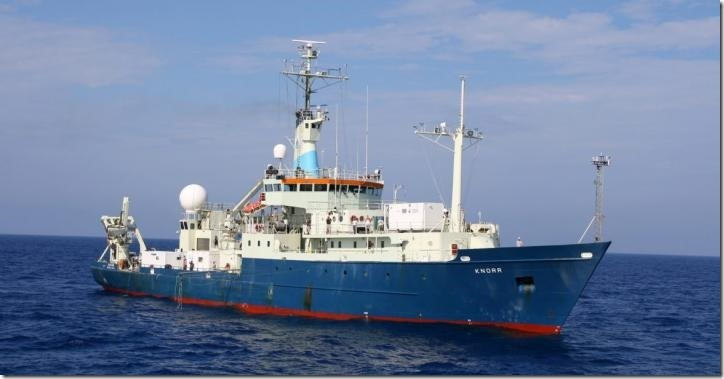 The RV Knorr was operated by Woods Hole Oceanographic Institution from 1970-2016. It was used on the GEOTRACES expeditions in 2010-2011 during which iron aerosol samples were collected for the study led by the USF College of Marine Science. Credit: University of South Florida
