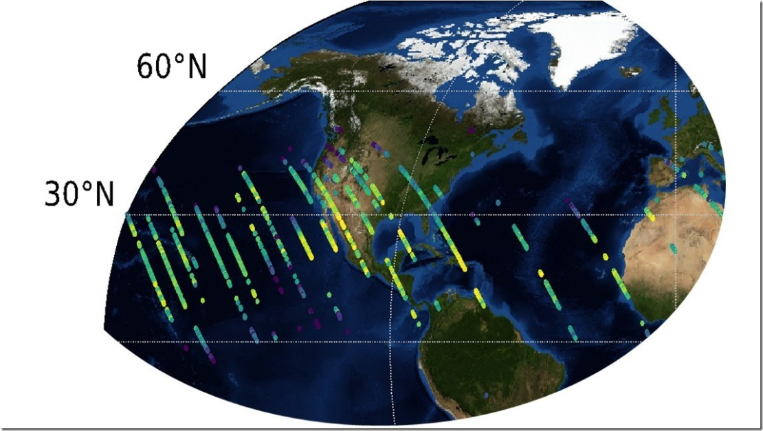 Preliminary carbon dioxide (CO2) measurements from OCO-3 over the United States. Credit: NASA/JPL-Caltech