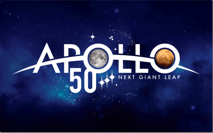 """The logo for the 50th anniversary of the Apollo 11 moon landing gives a nod to the past with a few elements borrowed from the original Apollo program emblem, and a glimpse into the future with a graphic depiction of NASA's vision for the next half-century of deep space exploration. The arc through the word """"Apollo"""" represents Earth's limb, or horizon, as seen from a spacecraft. It serves as a reminder of how the first views of Earth from the Moon – one of NASA's crowning achievements – forever transformed the way we see ourselves as human beings. It also affirms NASA's intention to continue pushing the boundaries of knowledge and delivering on the promise of American ingenuity and leadership in space. Credits: NASA/Matthew Skeins"""
