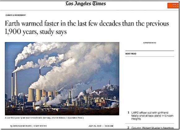 Anti science L  A  Times hypes propaganda denying global