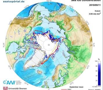 Map of the Arctic sea ice extent on September 11, 2019. Credit Graphic: meereisportal.de