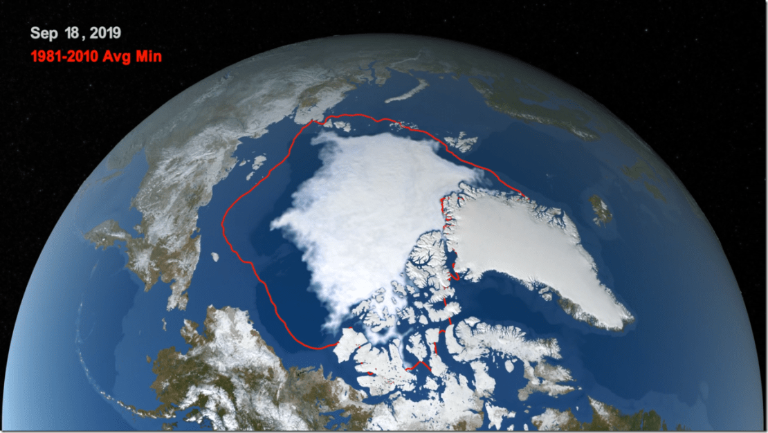 Arctic sea ice likely reached its 2019 minimum extent on Sept. 18. At 1.60 million square miles (4.15 million square kilometers), this year's summertime extent is effectively tied for the second in the satellite record, according to NASA and the National Snow and Ice Data Center. Credit: NASA/Trent Schindler