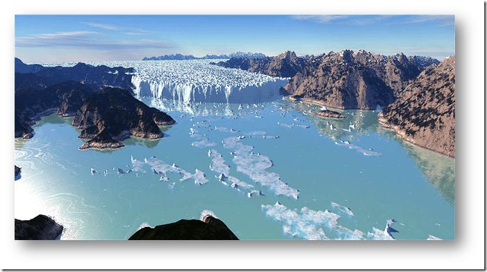Computer rendering of the Ice-Dam of Glacial Lake Missoula (Tom Davis)
