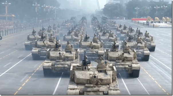 A military parade at Tienanmen Square celebrated the 70th anniversary of the Chinese Revolution October 1, 2019 (YouTube screen grab)