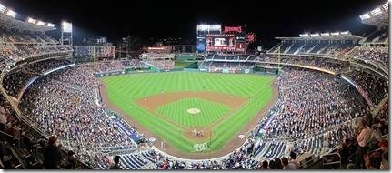 Panoramic view of Nationals Park in Washington, D.C. – the site for Games 3, 4 and 5 on Friday, Saturday and Sunday (if necessary); image courtesy Wikipedia