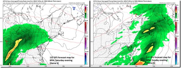 12Z GFS forecast maps for Saturday evening (left) and Sunday evening (right); courtesy NOAA, tropicaltidbits.com