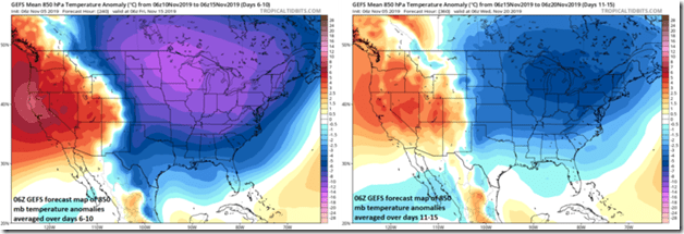 The colder-than-normal pattern continues for the eastern 2/3rds of the nation through mid-month with average 850 mb temperature anomalies for days 6-10 (left) and days 11-15 (right). Maps courtesy NOAA, tropicaltidbits.com