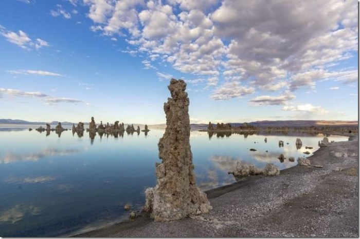 IMAGE: Eastern California's Mono Lake has no outflow, allowing salts to build up over time. The high salts in this carbonate-rich lake can grow into pillars. Credit: Matthew Dillon/Flickr