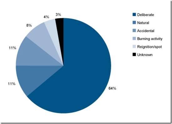 Figure 4 Cause of wildfire ignitions. https://aic.gov.au/publications/bfab/bfab021?fbclid=IwAR0QhXu6Wpu_z4d1VPDTxkJoANeck7oZCqheKbf2z8Z7T2XIC646xHbDTbY