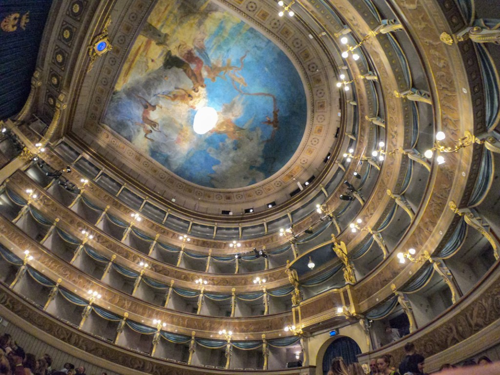 situated in the heart of Trento, the Social Theatre has a beautiful painted roof and gilt stalls
