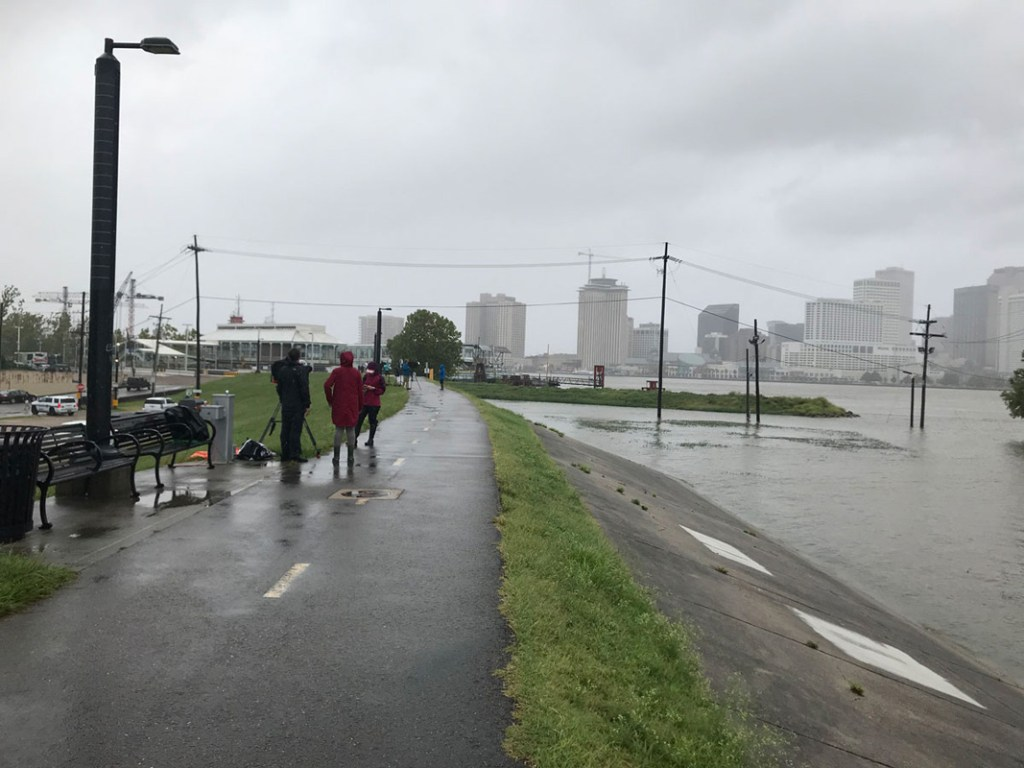 Algiers Point New Orleans Levee is the area's defense against the Mississipi River flooding