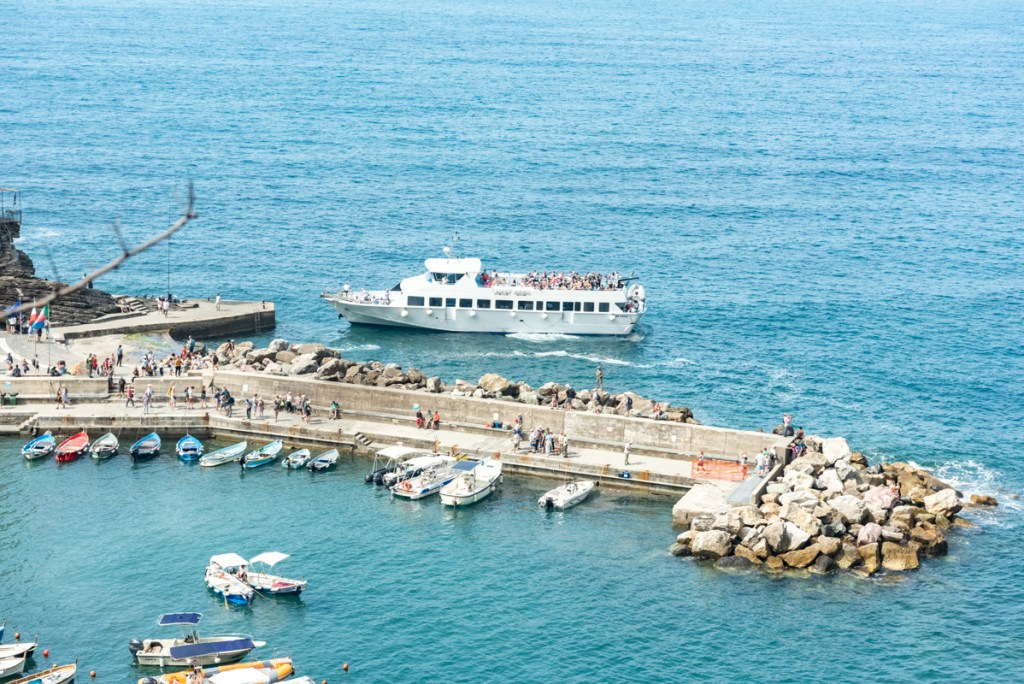 The ferries and cruise ships bring massive crowds visiting Cinque Terre