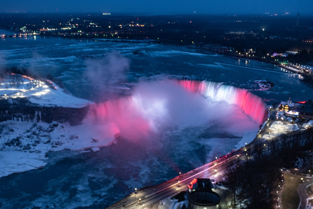 The frozen niagara falls at night become a light show