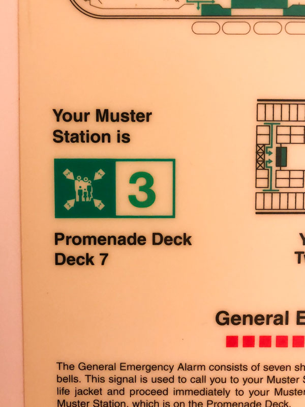 On a Royal Caribbean Cruise muster ensures people know the evacuation procedures