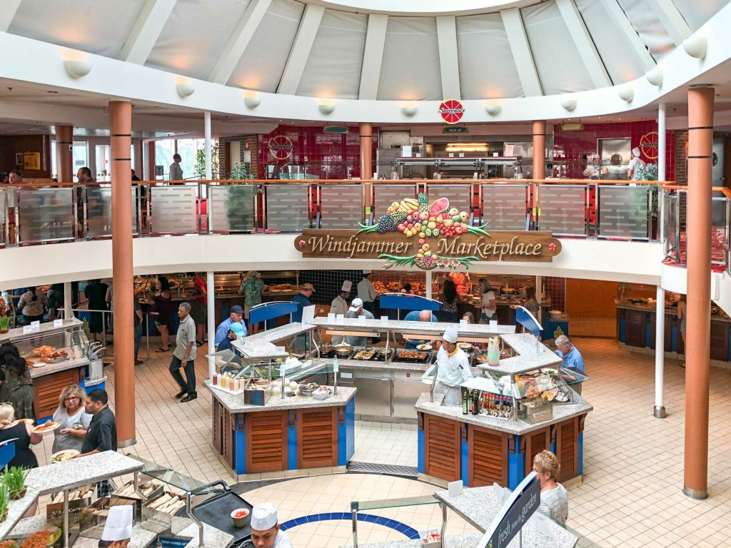 Windjammer is the main buffet on the Royal Caribbean Majesty of the Seas.