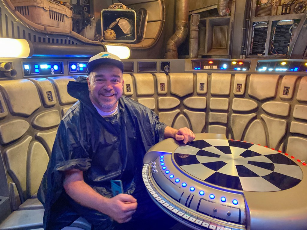 Bernie sits at the chess table in the Millennium Falcon on the Star Wars Smugglers Run ride at Disneyworld
