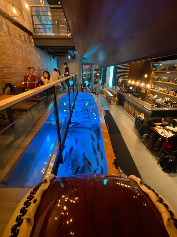 The Taiko drum watches over Zauo seafood restaurant in Chelsea New York