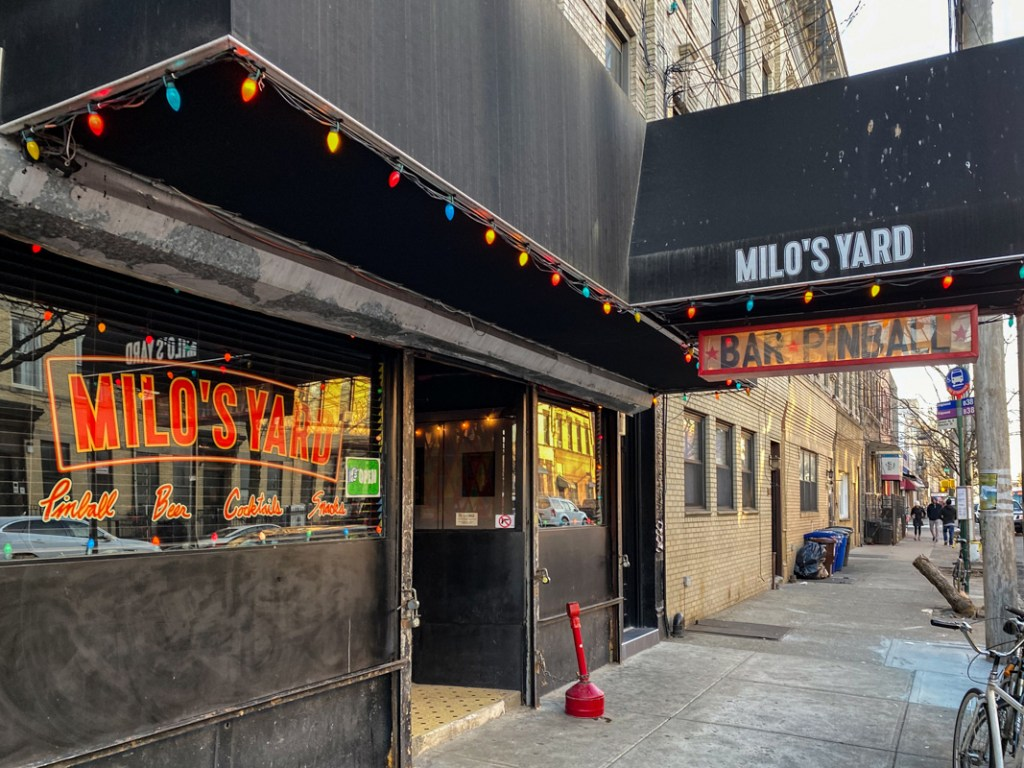 Milo's Yard is a hidden treasure in Ridgewood, Queens - a pinball bar with a backyard beer garden.