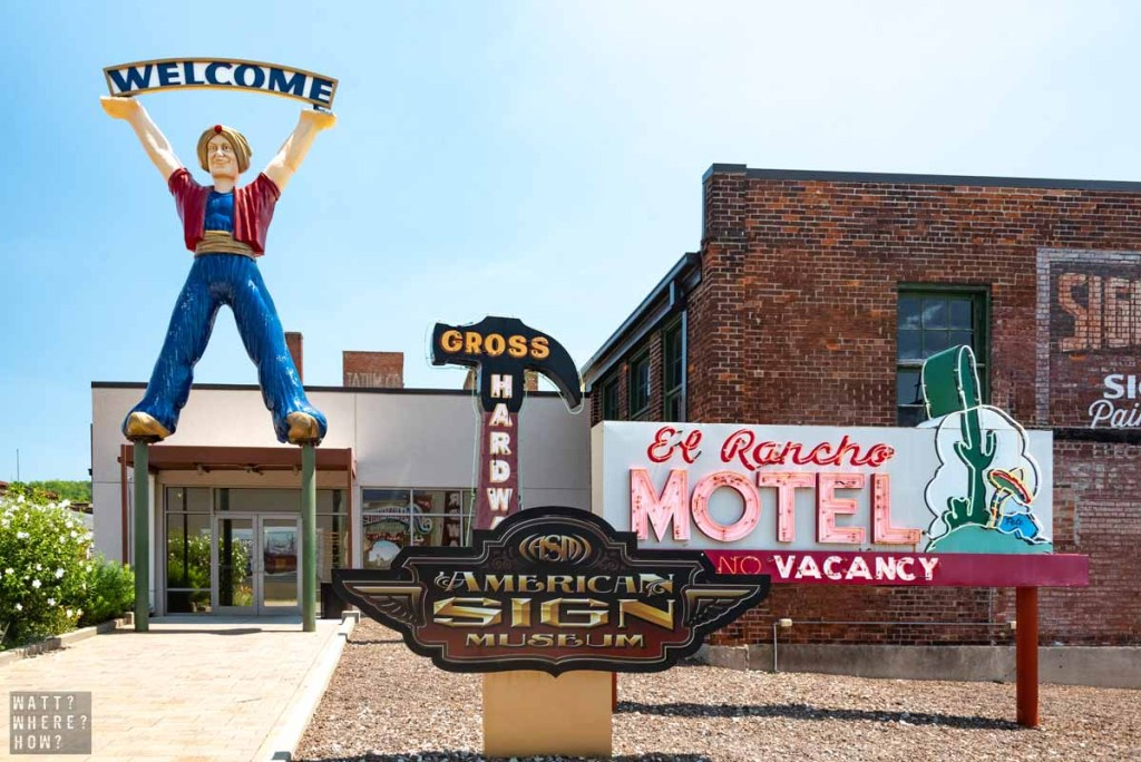 The Cincinnati Sign Museum is also known as the American Sign Museum, where you're greeted by a giant genie statue,