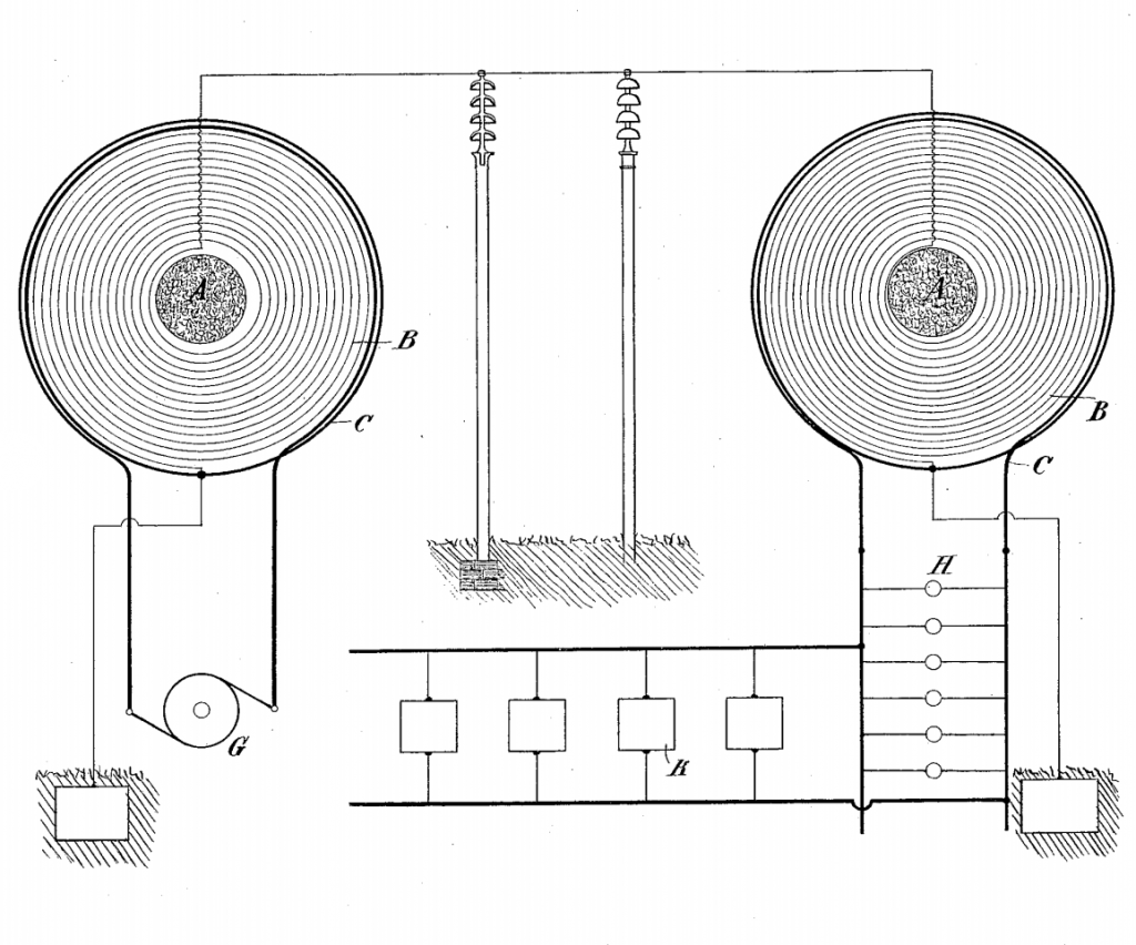 hight resolution of single wire energy transmission system using two iron core tesla coils